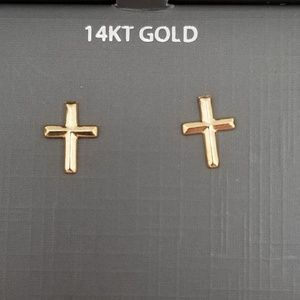 Other - 14k Solid Gold Baby/Girls Cross Earrings